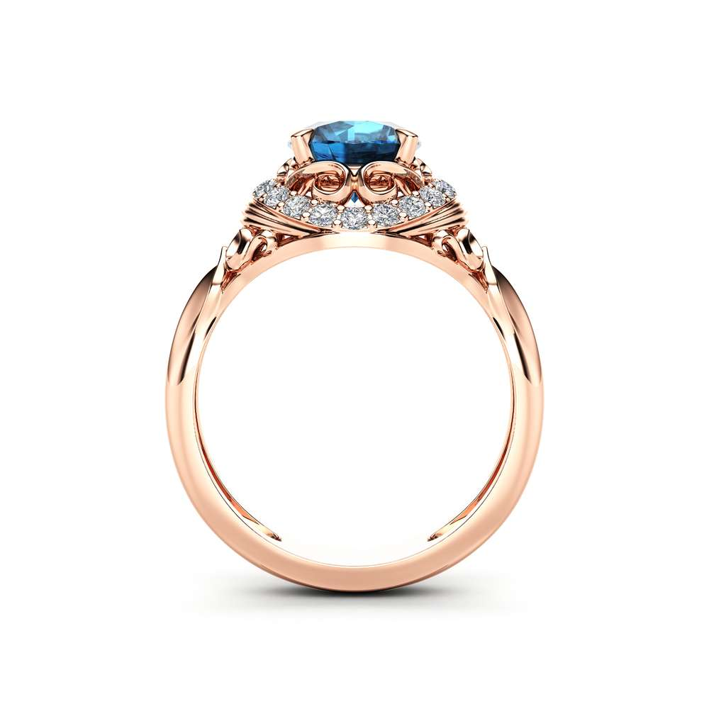 Modern Topaz Engagement Ring Diamond Alternative Unique 14K Rose Gold Halo Modern Ring