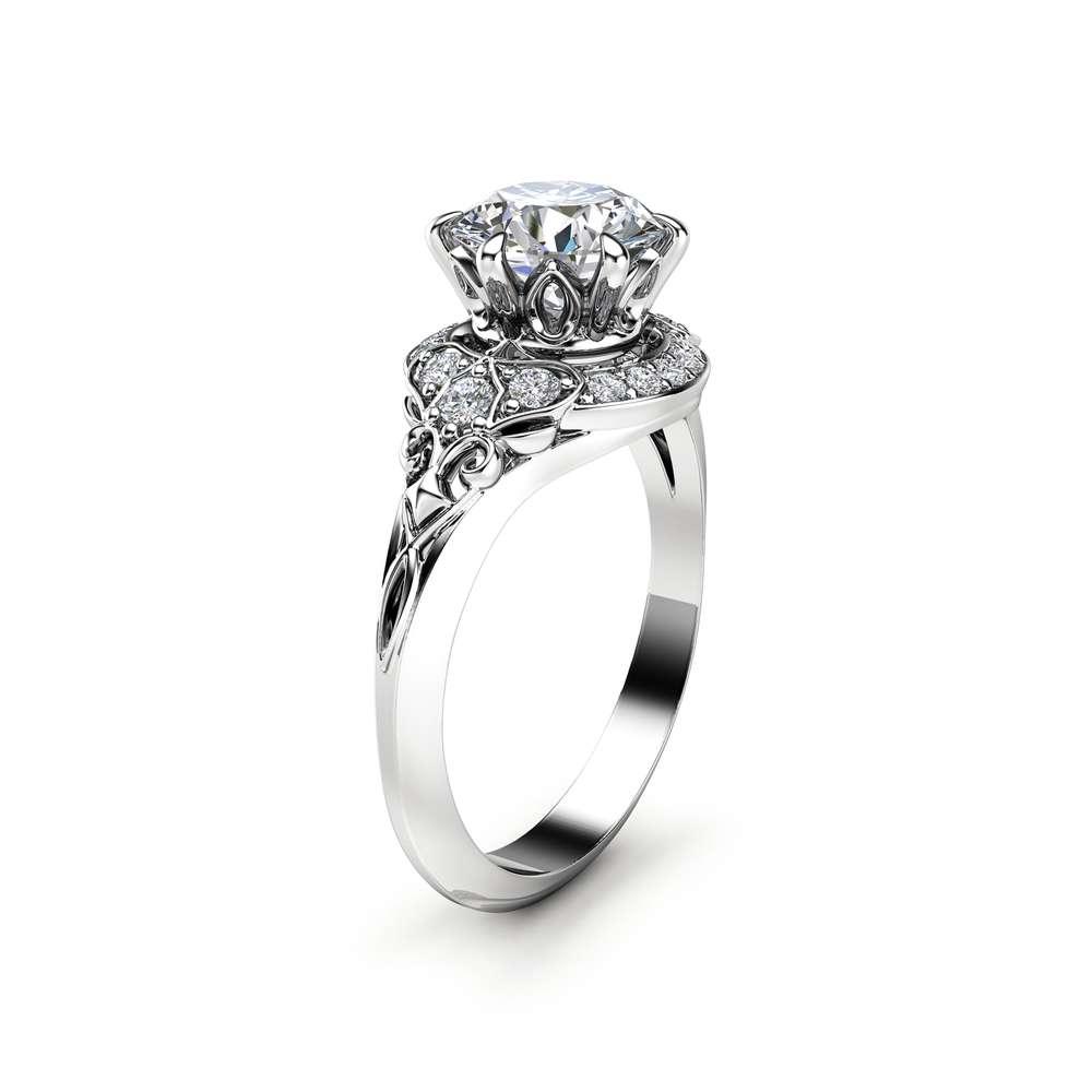 Modern Moissanite Engagement Ring Unique 14K White Gold Halo Modern Ring