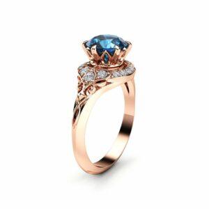 Modern Blue Diamond Engagement Ring Unique 14K Rose Gold Halo Modern Ring