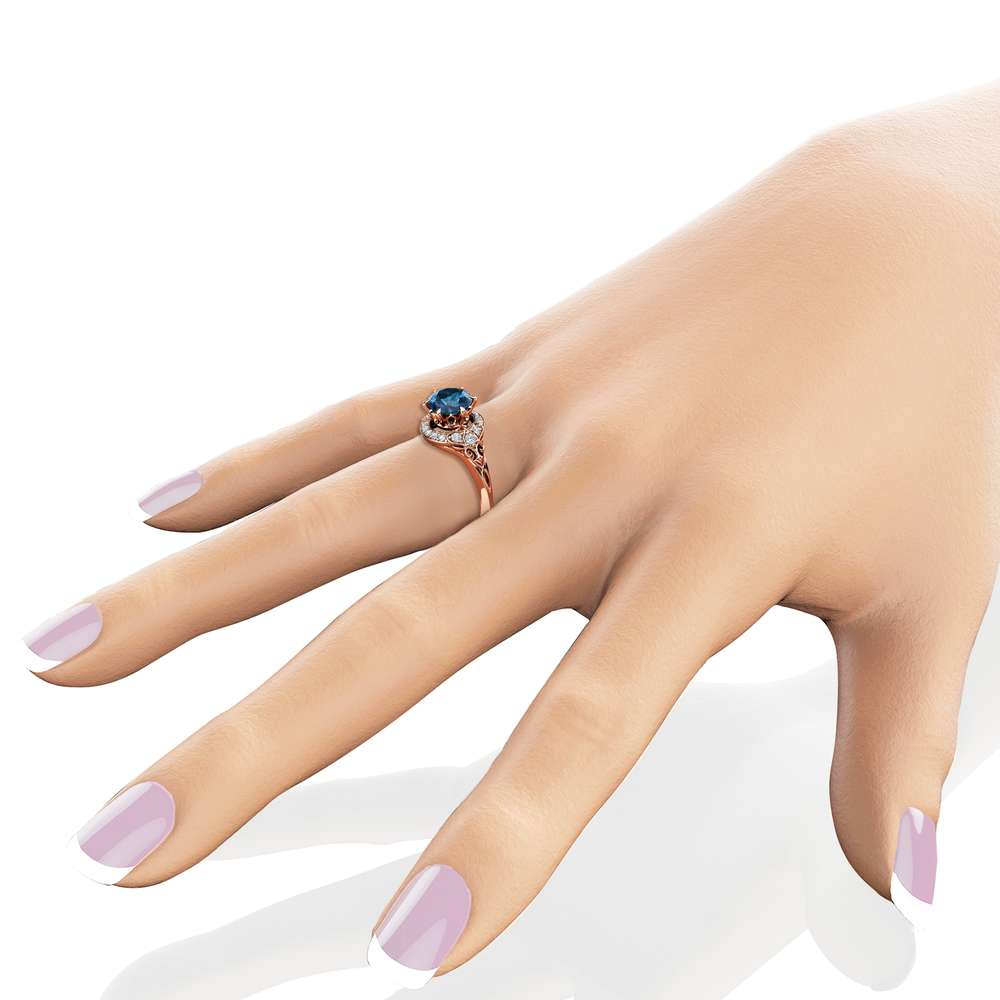 Modern Blue Diamond Engagement Ring Unique 14K Rose Gold Halo Modern Ring