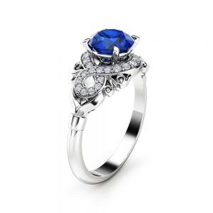Unique Halo Blue Sapphire Engagement Ring 14K White Gold Ring Diamonds Halo Engagement Ring