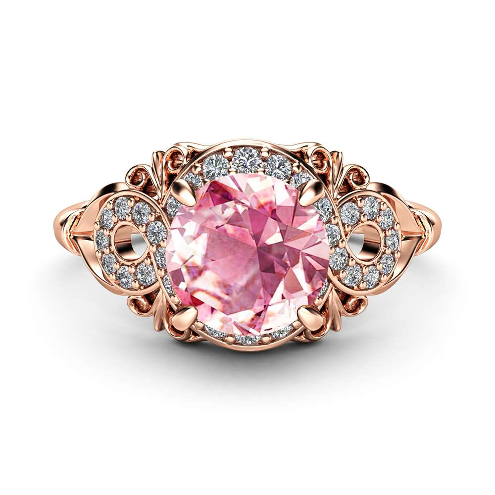 Halo Pink Sapphire Engagement Ring 14K Rose Gold Ring Unique Diamonds Halo Engagement Ring