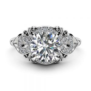 Diamond Engagement Ring 18K White Gold Diamond Ring Vintage Style Engagement Ring By Ayala Jewelry