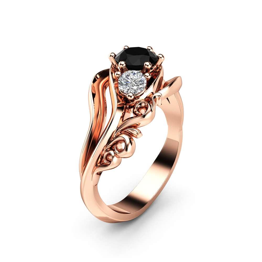 3 Stone Black Diamond Engagement Ring 14K Rose Gold Ring Unique Art Deco Engagement Ring