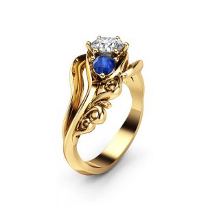 Diamond Sapphires 3 Stone Engagement Ring 14K Yellow Gold Ring Unique Art Deco Anniversary Ring