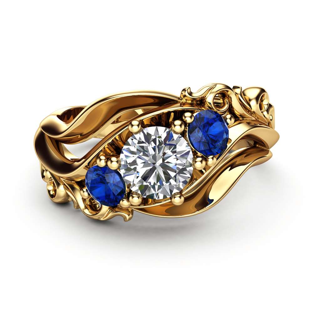 Diamond Sapphires 3 Stone Engagement Ring 14K Yellow Gold Ring Unique Art Deco Anniversary Ring