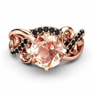 14K Rose Gold Morganite Engagement Ring Unique Halo Morganite Engagement Ring