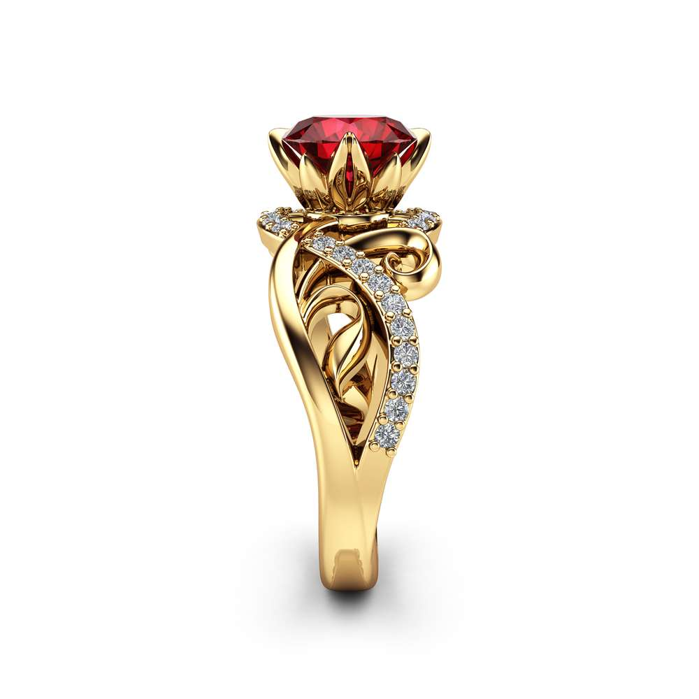 14K Yellow Gold Ruby Engagement Ring Unique Halo Ruby Engagement Ring