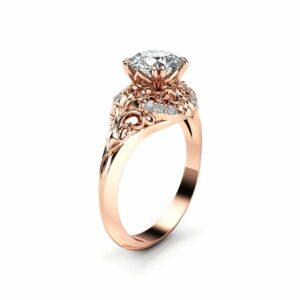 Diamond Engagement Ring 18K Rose Gold Diamond Ring Vintage Style Engagement Ring By Ayala Jewelry