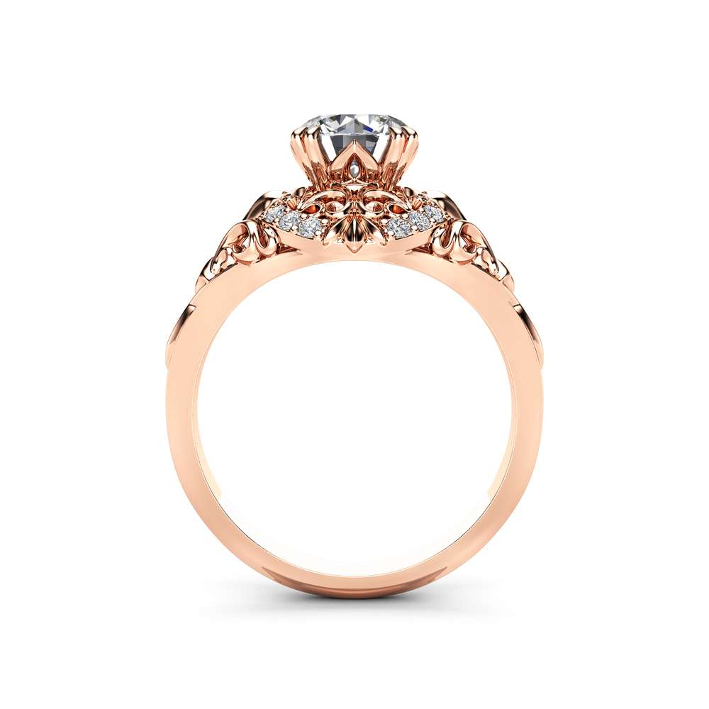 Diamond Engagement Ring 18K Rose Gold Diamond Ring Vintage Style Engagement Ring By Ayala Jewelry