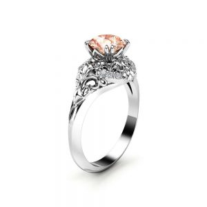 Art Deco White Gold Diamonds and Morganite Engagement Ring for Women / Gold Victorian Ring / Unique Engagement Ring / Vintage Jewelry Gifts