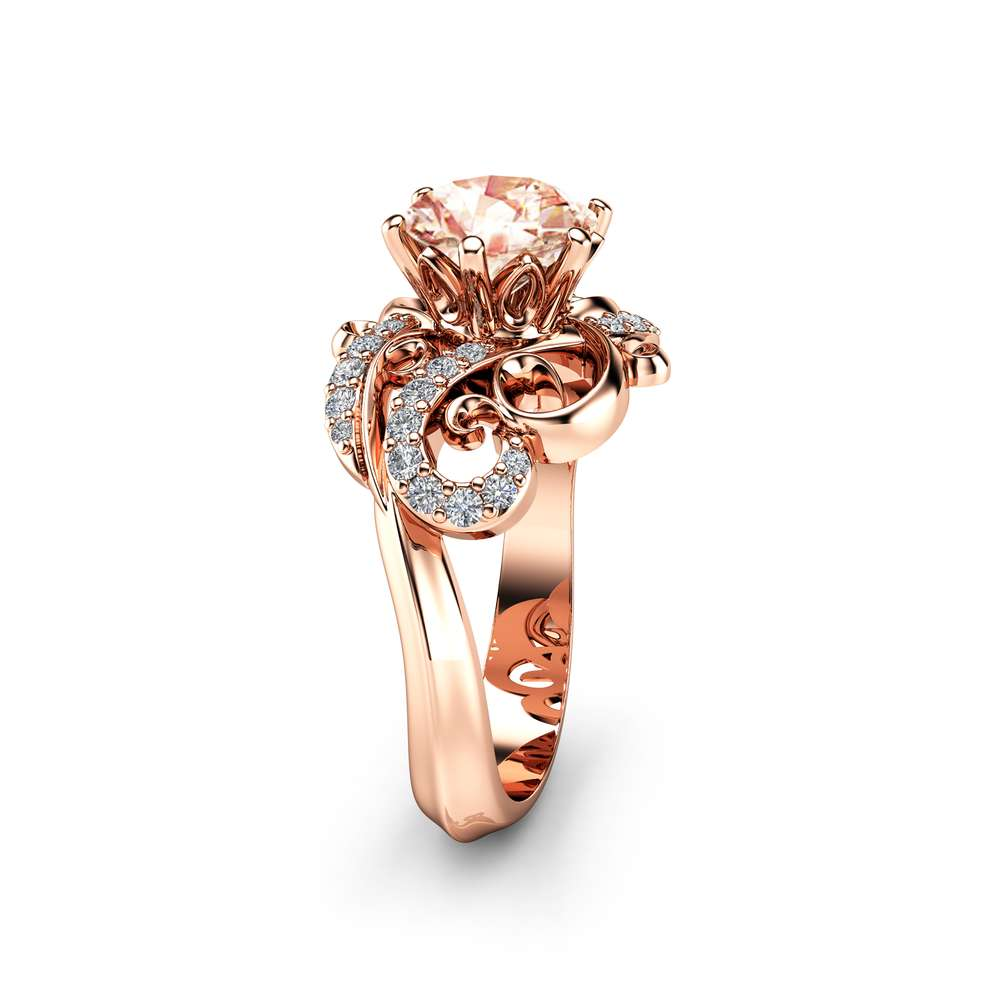 Morganite Edwardian Engagement Ring 14K Rose Gold Morganite Ring Natural Engagement Ring