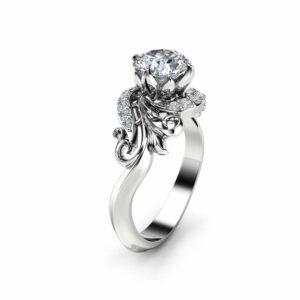 Leaves Moissanite Engagement Ring 14K White Gold Ring Forever Briliant Moissanite Engagement Ring