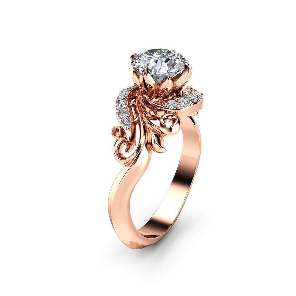 Moissanite Petal Engagement Ring 14K White Gold Ring Art Nouveau Styled Moissanite Engagement Ring
