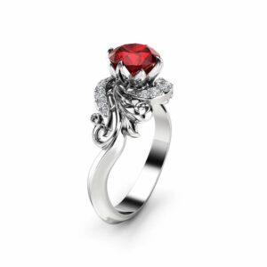 Diamonds Leaves Ruby Engagement Ring 14K White Gold Ring Ruby Petal Engagement Ring
