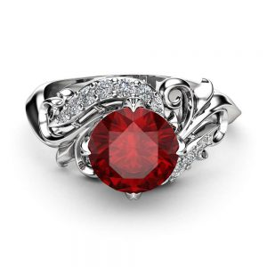Diamonds Leaves Ruby Engagement Ring 14K White Gold Ring Ruby Petal Engagement Ring