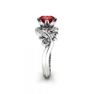 Natural Garnet Engagement Ring 14K White Gold Ring Unique Leaves Garnet Anniversary Ring