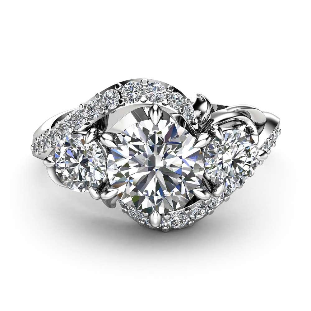 Three Stone Diamond Engagement Ring 14K White Gold Branch Ring Art Nouveau Engagement Ring