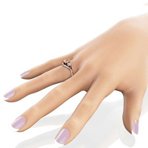 Three Stone Morganite Diamond Engagement Ring 14K Rose Gold Ring Unique Natural Diamonds Ring 3-Stone Diamond Ring