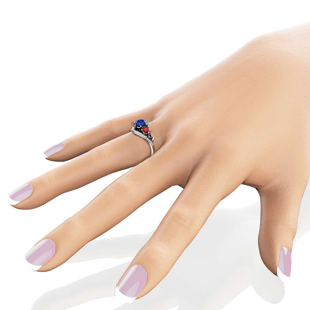 Unique Three Stone Engagement Ring 14K White Gold Ring Natural Blue Sapphire Natural Red Ruby Ring