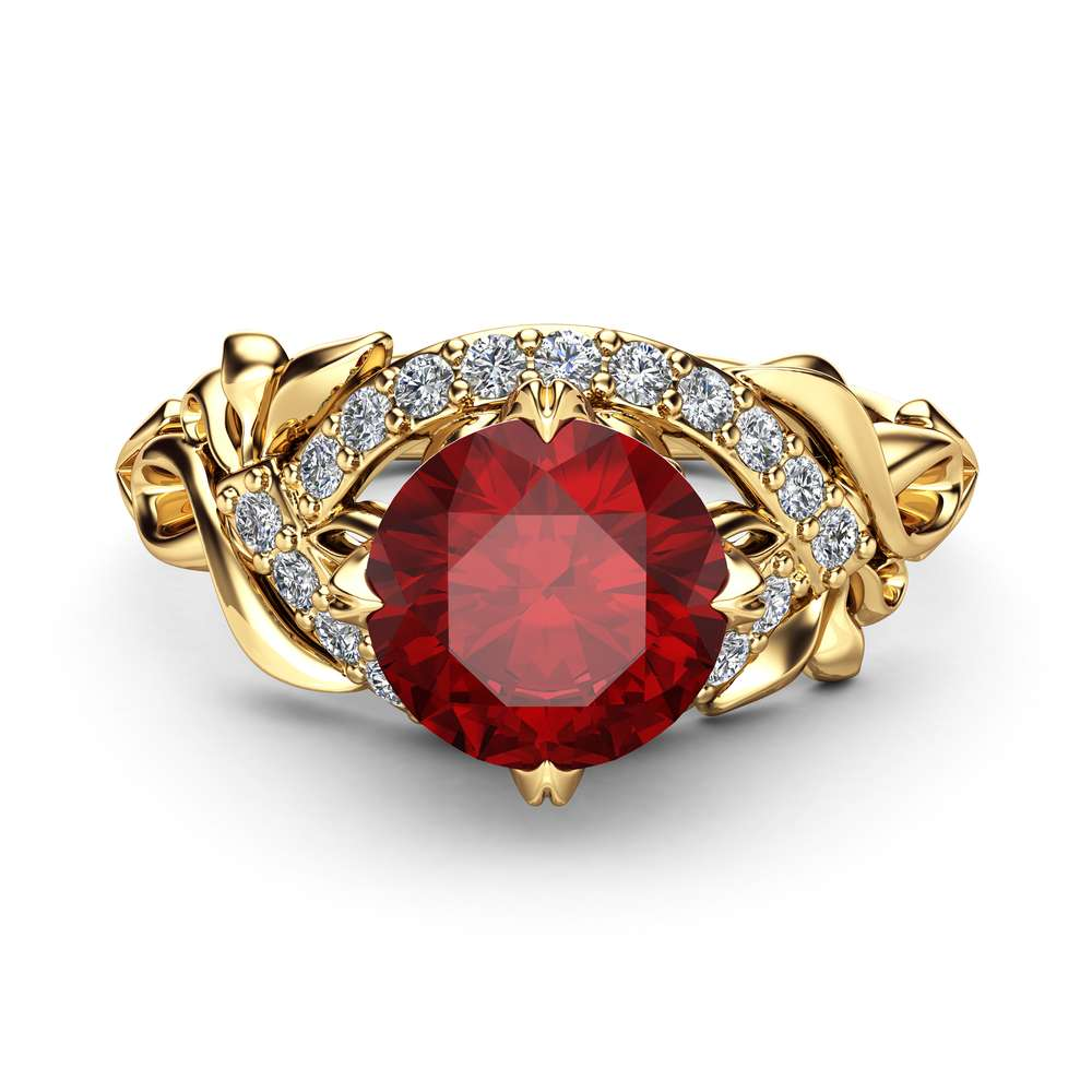 Natural Ruby Engagement Ring 14K Yellow Gold Unique Halo Engagement Ring