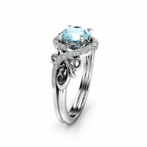 Halo Aquamarine Engagement Ring 14k White Gold Ring Unique Gemstone Engagement Ring