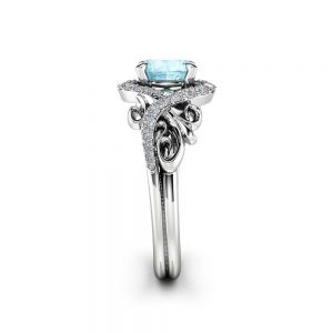 Halo Aquamarine Engagement Ring 14k White Gold Ring Unique Gemstone Engagement Ring