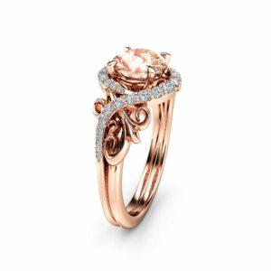 Art Nouveau Morganite Engagement Ring 14K Rose Gold Ring Unique Nature Inspired Engagement Ring