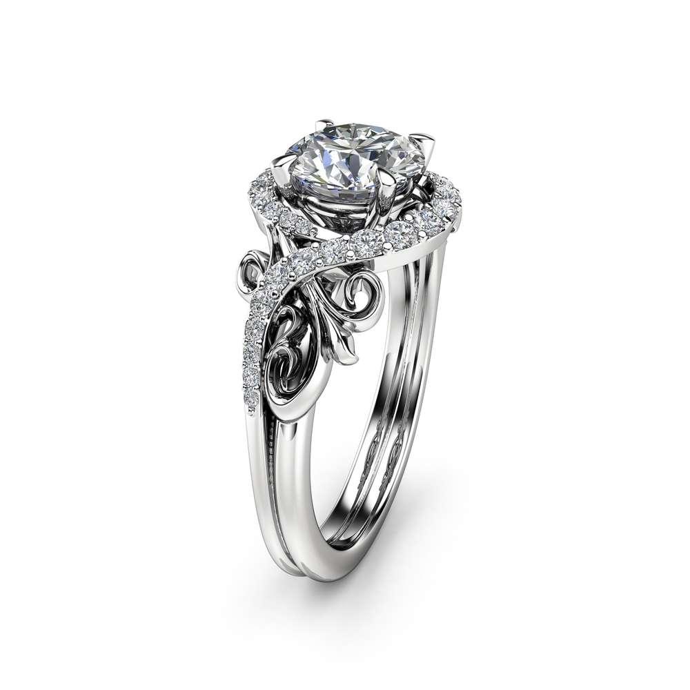 Moissanite Engagement Ring White Gold Ring Halo Engagement Ring Halo Moissanite Ring