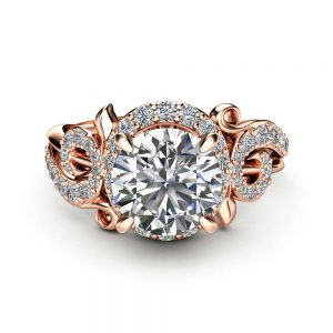 Unique Halo Moissanite Engagement Ring 14K Rose Gold Ring Natural Diamonds Twig Engagement Ring