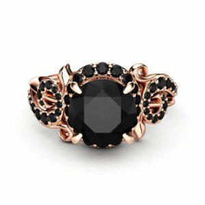 Black Diamond Twig Halo Engagement Ring 14K Rose Gold Ring Unique Halo Ring