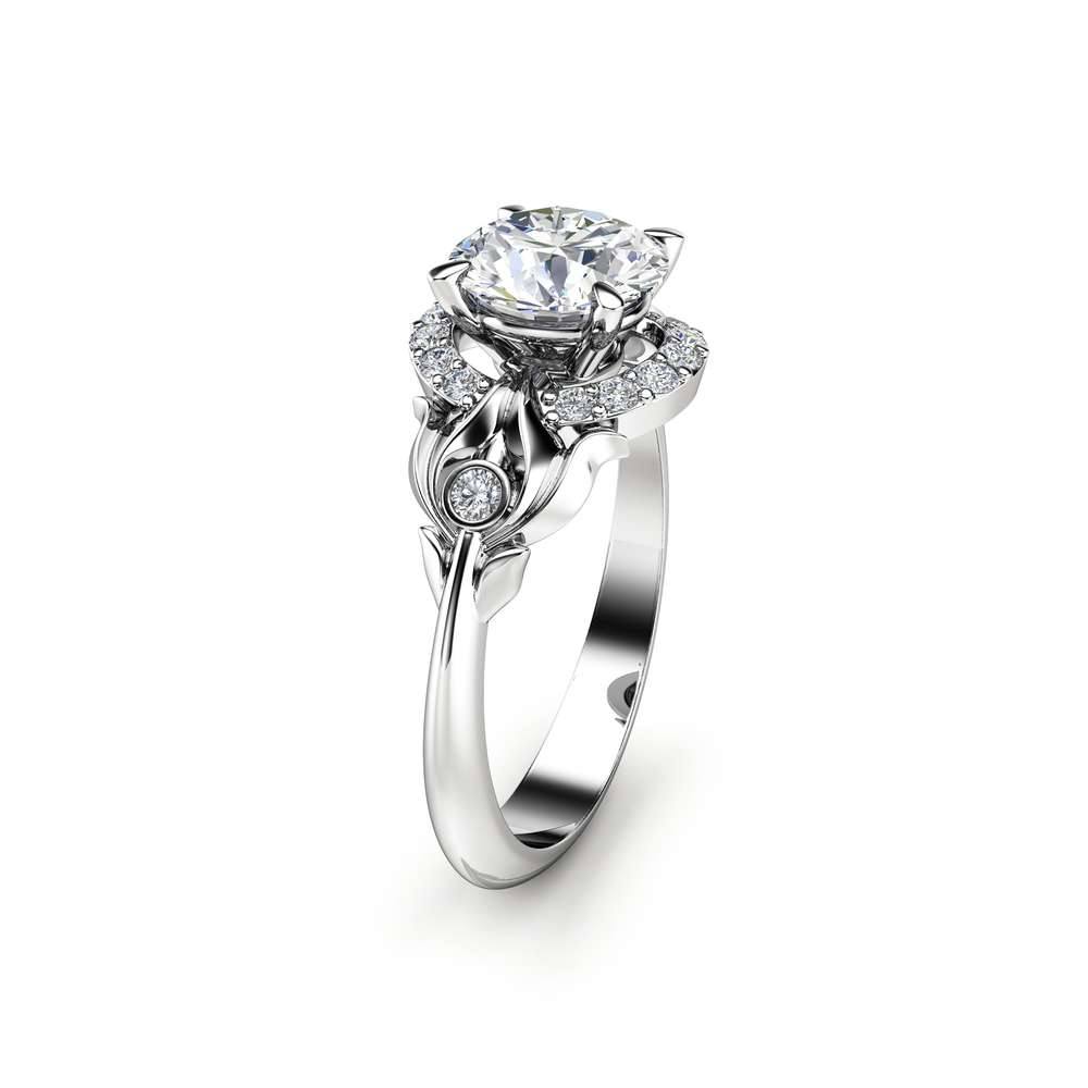 Mid Century Moissanite Engagement Ring Unique 14K White Gold Ring Natural Diamonds Halo Ring