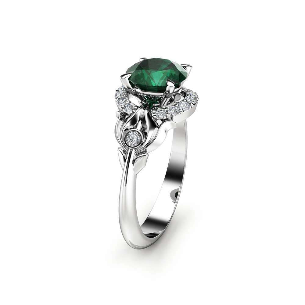 Modern Emerald Engagement Ring 14K White Gold Ring Natural Emerald Ring Mid Cetury Halo Ring