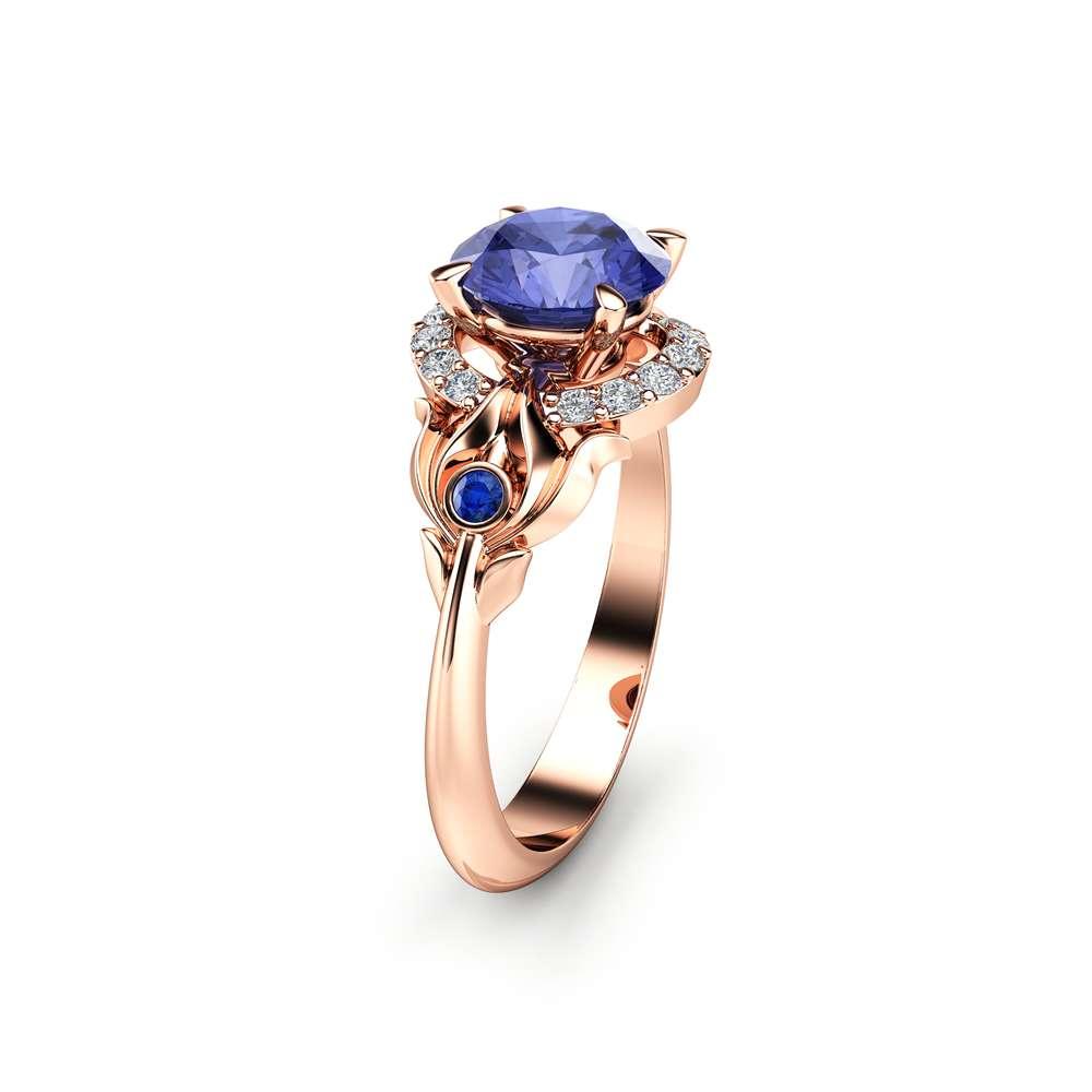 Bluish Violet Tanzanite Engagement Ring 14K Rose Gold Ring Natural Tanzanite Engagement Ring