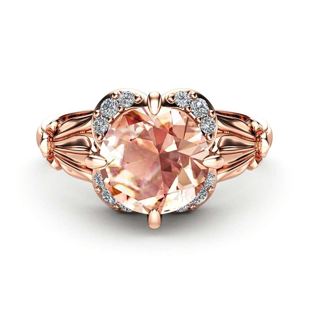 Peach Morganite Engagement Ring 14K Rose Gold Ring Morganite Petal Engagement Ring July Birthstone