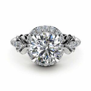 Diamonds Halo Moissanite Engagement Ring 14K White Gold Ring Art Nouveau Promise Ring
