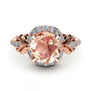 Diamond Halo Pink Sapphire Engagement Ring 14K Rose Gold Ring Unique Anniversary Ring