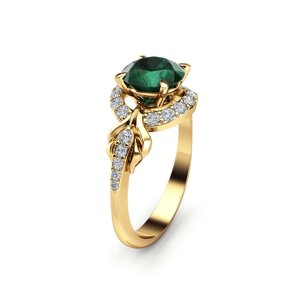 Halo Emerald Engagement Ring 14K Yellow Gold Ring 1 Ct. Natural Emerald Ring