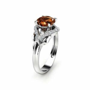 Chocolate Diamond Engagement Ring 14K White Gold Leaf Ring Fancy Brown Natural Diamond Ring
