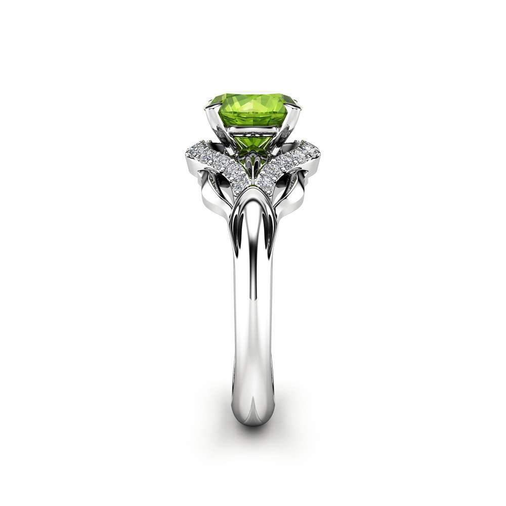 Peridot Engagement Ring 14K White Gold Leaf Ring Green Peridot August Birthstone