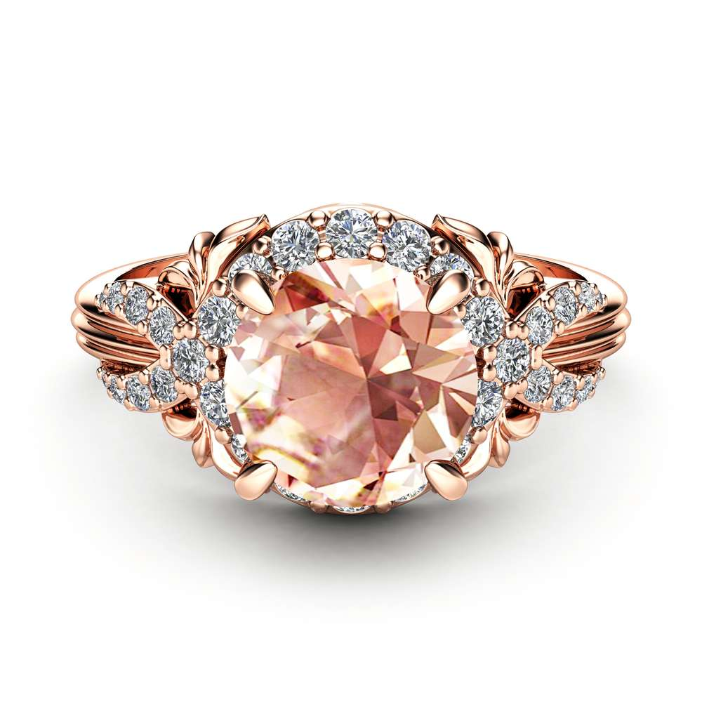 Peach Pink Sapphire Engagement Ring 14K Rose Gold Ring Unique Diamonds Halo Engagement Ring