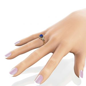 Natural Blue Sapphire Engagement Ring 14K Solid Yellow Gold Ring Diamonds Halo Engagement Ring