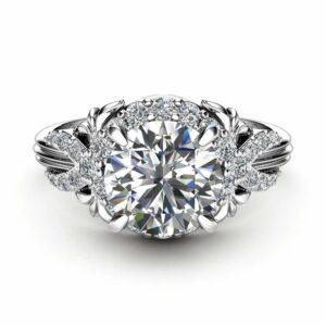 Moissanite Engagement Ring White Gold Ring Unique Engagement Ring Unique Moissanite Ring