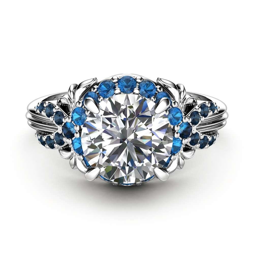 Moissanite Engagement Ring White Gold Ring Unique Engagement Ring Unique Blue Diamond Ring