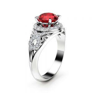 Unique Diamonds Halo Ruby Engagement Ring 14K White Gold Ring Art Deco Ring Natural Ruby Ring
