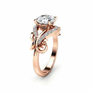 Moissanite Leaf Engagement Ring 14K Rose Gold Moissanite Ring Solid Gold Engagement Ring