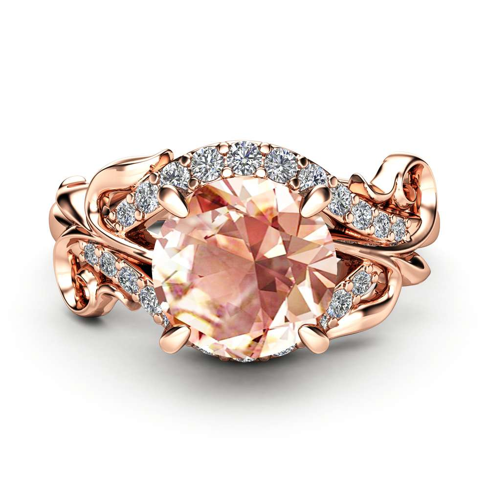 Peach Sapphire Engagement Ring 14K Rose Gold Peach Sapphire Ring Leaf Engagement Ring Anniversary Gift