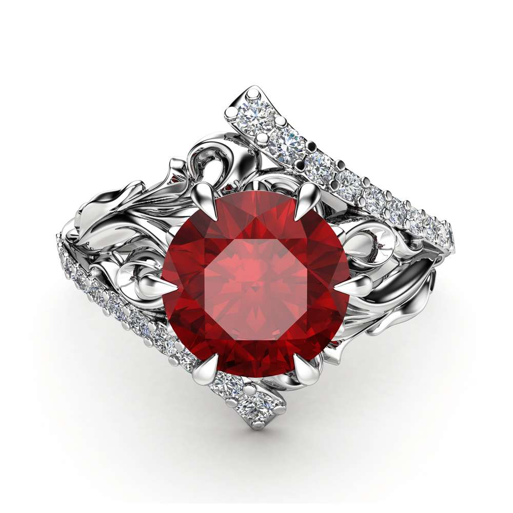 Leaf Ruby Engagement Ring 14K White Gold Leaf Ring Unique Ruby Ring July Birthstone