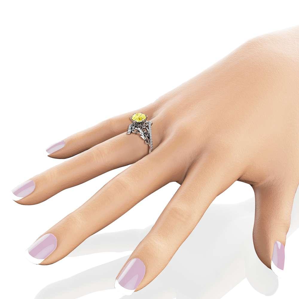 Yellow Moissanite Engagement Ring 14K White Gold 1.55 CT. Moissanite Ring Leaf Engagement Ring Charles Colvard