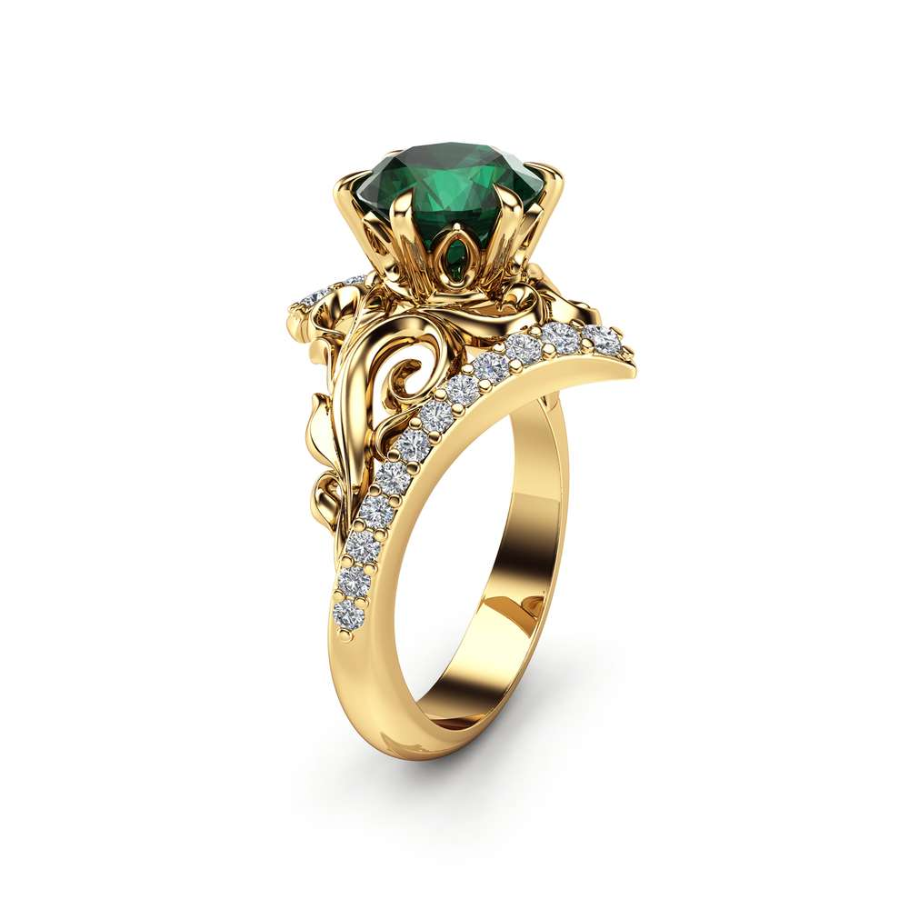 Leaf Emerald Engagement Ring 14K Yellow Gold Leaf Ring Unique Emerald Ring May Birthstone